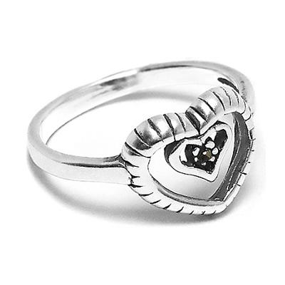 d12122a4fb Anillo de Plata con corazones tramados y cubic negro. BH joyas anillos de plata  por mayor